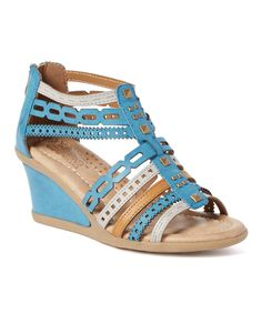 Look at this Blue Antolene Wedge Sandal on #zulily today!