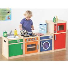 Sturdily constructed from solid wooden frames, there's a whole range of wooden kitchen units available, ideal for group role play & home corners. Free delivery on all wooden role play kitchens - shop now! Kitchen Wood Design, Kids Wooden Kitchen, Toddler Kitchen, Diy Play Kitchen, Toy Kitchen, Kitchen Sets, Parents Room, Kids Room, Montessori Toddler Rooms