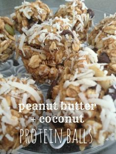Protein energy balls! Peanut butter, chocolate and coconut!