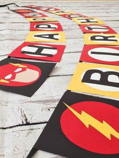 Perfect for your Flash fan! This is for a Flash themed banner made of cardstock. Name letters can be added for an additional $5 (10 characters max). Colors can be changed if desired and can also make banner on one ribbon string if desired or you may keep all phrases separate like in the