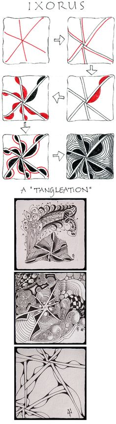 Ixorus. Official Zentangle with examples/variations.