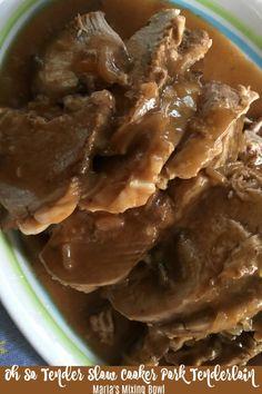 Oh So Tender Slow Cooker Pork Tenderloin - Schweinsbraten Slow Cook Pork Tenderloin, Slow Cooker Pork Loin, Slow Cooked Pork, Pork Chops, Pork Tenderloins, Roast Beef, Pork Roast Recipes, Crockpot Recipes, Cooker Recipes