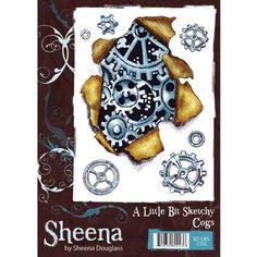 Sheena Douglass A6 Stamp A Little Bit Sketchy - Cogs Torn Effect