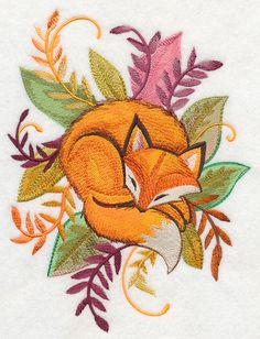 Fox and Leaves in Watercolor design (M7573) from www.Emblibrary.com