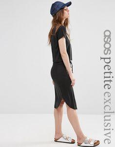 Image 1 ofASOS PETITE Skirt With Dolphin Hem & Drawcord in Cupro