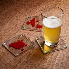 Dexter themed blood splatter coasters! I see these at our next Halloween party!! LOVE Dexter!