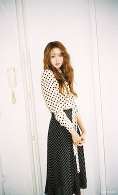 A Burberry polka-dot silk tie-neck shirt paired with a pintuck detail skirt. Lee Sung Kyung captured by Mok Jung Wook for the December edition of Marie Claire KR Lee Sung Kyung Photoshoot, Lee Sung Kyung Fashion, Lee Sung Kyung Hair, Asian Actors, Korean Actresses, Korean Actors, Eddy Kim, Weightlifting Fairy Kim Bok Joo, Ahn Hyo Seop