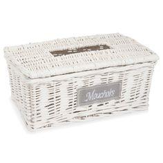 Woven tissue box in white