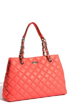 kate spade new york 'gold coast - maryanne' quilted leather shopper in 'flo coral'
