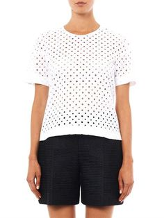 Rebecca Taylor Diamond-eyelet broderie-anglaise T-shirt Rebecca Taylor, Polka Dot Top, Diamond, T Shirt, Stuff To Buy, Shopping, Collection, Tops, Women