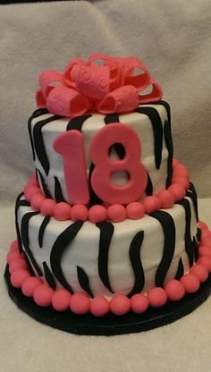 Zebra Stripes 18 Birthday Cake