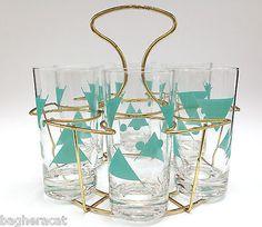 Mid Century Aqua 6-Glass Set & Caddy Vintage Retro Atomic Mod in Unknown Maker | eBay