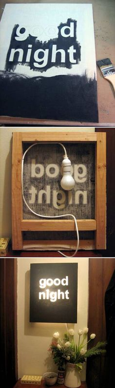 """Good Night"" Night Light. — This would be perfect hanging under a loft by your futon if you want a little light while you're relaxing at night.  I'd probably scale it down and use a lighter painters canvas + large-bulb string lights so you can hang it on a wall hook without worrying about it being too heavy. (Just don't leave it on overnight! Might get too hot with the string lights.)"
