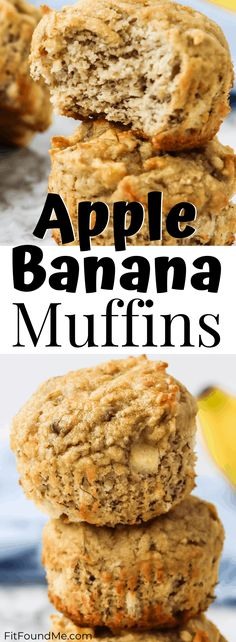 Delicious apple banana muffins 21 day fix approved and perfect for a Fall day in front of your favorite TV show. Snack without the guilt. Banana Apple Recipes, Apple Banana Muffins, Healthy Banana Muffins, Healthy Banana Recipes, Healthy Cake, Healthy Desserts, Healthy Apple Snacks, Healthy Baking, Eating Healthy