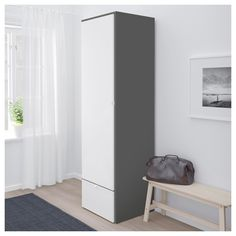 IKEA VISTHUS Wardrobe Grey/white 63x59x216 cm Adjustable feet make it possible to compensate any irregularities in the floor.