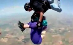 Newly released footage shows a grandmother slipping out of her harness during a tandem skydive in California on her 80th birthday.