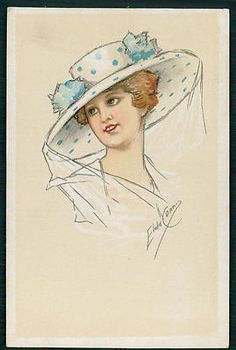 art Elsa Cenni Glamour fashion Lady original old c1910-1920s postcard aa
