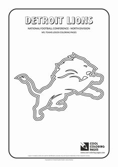 Cool Coloring Pages - NFL American Football Clubs Logos - National Football Conference - North Division / Detroit Lions logo / Coloring page with Detroit Lions logo Lion Coloring Pages, Football Coloring Pages, Coloring Pages For Boys, Coloring Books, College Football Logos, Flag Football, Baseball, Detroit Lions Logo, Coloring Pages Inspirational
