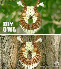 Multicolored Macramé Owl - Necklace Tutorial #Macrame #Owl #Necklace #Tutorial