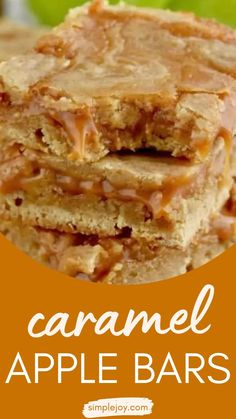 Fall Desserts, Just Desserts, Delicious Desserts, Yummy Food, Apple Recipes, Fall Recipes, Baking Recipes, Caramel Apple Bars, Caramel Apples