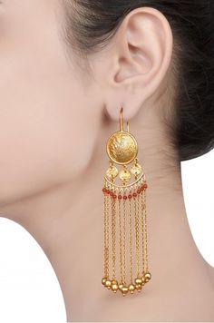 Ali Baba Selani Gold and diamond suppliers Dubai. Jewelry Design Earrings, Gold Earrings Designs, Gold Drop Earrings, Chain Earrings, Bridal Earrings, Gold Jewelry, Jewellery Box, Gold Chains For Men, Gold Fashion