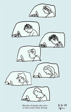 Sketches of people who stare at their crotch while driving.