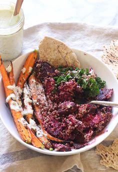 Vegan Beet Hippie Bowls with Horseradish Cream