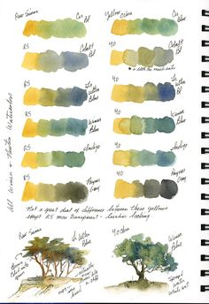 Idea mixing palette yellows +blues from:-sbwatercolors and sketching: Stillman & Birn Beta Journal New Pages Watercolor Mixing, Watercolor Painting Techniques, Watercolor Tips, Watercolour Tutorials, Watercolor Landscape, Watercolour Painting, Watercolor Flowers, Watercolors, Color Mixing Chart