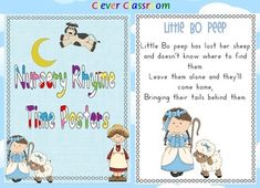 Nursery Rhyme Time Posters PDF file  16 page, printable file. Your file includes one nursery rhyme to each full page.  Some of the nursery rhymes include;  There Was an Old Lady, Humpty Dumpty, Little Jack Horner, 3 Blind Mice, Star Light Star Bright, Old Mother Hubbard, Mary had a, Little Boy blue, Jack be Nimble, Jack and Jill, Hot Cross Buns, Hickory Dickory Dock, Little Miss Muffet, Hey Diddle, Diddle, Twinkle, Twinkle and Baa, Baa Black Sheep and Little Bo Sheep. $