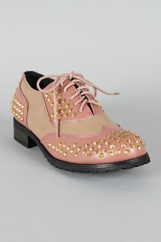 Shoe Republic Run Two Tone Studded Spike Lace Up Flat