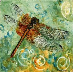Dragonfly wall art with beautiful burnt orange dragonfly image on cedar green and yellow background. The affordable fine art print version will enhance your home decor with its contemporary colors of jade green and mustard. Art is a better investment than clothing since it always fits and never goes out of style. Art is good for your health since looking at it makes you happy and relaxed.