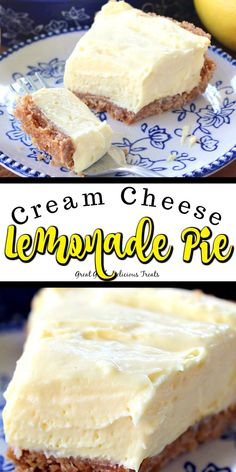 Cream Cheese Lemonade Pie is a super creamy, super tart, lemonade pie that is super easy to make. 10 minutes is all you need to whip up this delicious no bake pie. Lemon Desserts, Lemon Recipes, Easy Desserts, Baking Recipes, Sweet Recipes, Broccoli Recipes, Tofu Recipes, Chicken Recipes, Desserts For A Crowd