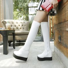 Womens Over The Knee High Boots Platform Wedge High Heels Fashion Plus Size Shoe