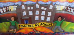 Beckford School Mural Commission: School building, motto & local area