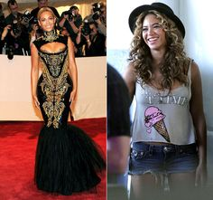 Beyonce. Fierce, skin-tight, black and gold dress, or casual short denim shorts, ice cream t-shirt topped with a cute black hat!