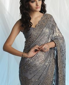 Georgette brasso grey saree.  Website : http://www.bhartistailors.com/ Email : arvin@bhartistailors.com Meena Bazaar, Grey Saree, Lace Saree, Indian Attire, Indian Wear, Indian Style, Desi Clothes, Indian Clothes, Ethnic Fashion