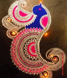 50 Attractive Rangoli Design (ideas) that you can make yourself or get it made during any occasion on the living room or courtyard floors. Rangoli Designs Peacock, Simple Rangoli Designs Images, Rangoli Designs Latest, Rangoli Border Designs, Rangoli Patterns, Rangoli Ideas, Rangoli Designs With Dots, Rangoli Designs Diwali, Diwali Rangoli