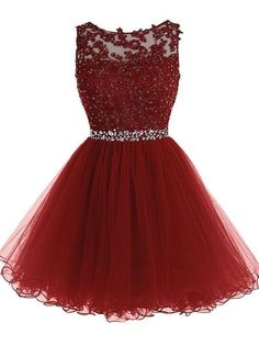 34c2f2f98b Tulle Adorable Round Neck Short Prom Dress