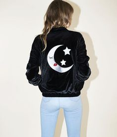 Lune  Velvet Bomber Jacket W/ Embroidered Details  Valfre.com #valfre
