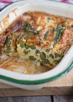 asparagus, blue cheese, and parmesan quiche