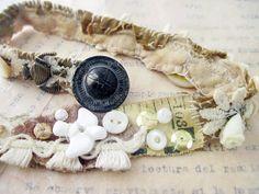 A Hundred Veils. White Ivory Victorian Tribal Gypsy Stitched Wrist Wrap Bracelet.