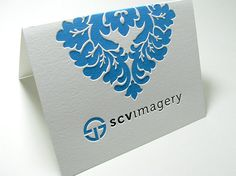 Embossed Business Card - folded ~ love the blue