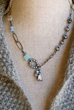 Vivian.romantic,baroque pearl,sea blue quartz,rhinestone drop necklace. Tiedupmemories