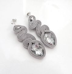 Silver grey earrings soutache earrings crystal earstuds orecchini Big earrings Soutage Ohrsrecker Glam