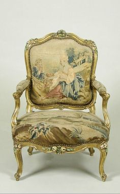 Armchair with Gilt and Polychrome Frame and Beauvais Tapestry Cover Showing Pastoral Scenes c.1760-65. The Frick collection