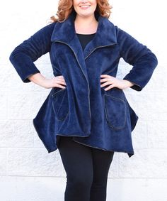 This Blue Fleece Cardigan - Plus by Simply Couture is perfect! #zulilyfinds