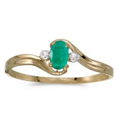 jewelry: 14K Yellow Gold Oval Emerald And Diamond Ring BUY IT NOW ONLY: $144.2