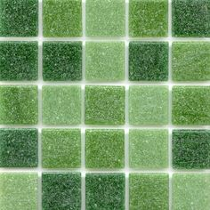 Mineral Tiles - Classic Glass Mosaic Tile Green Blend, $6.50 (http://www.mineraltiles.com/classic-glass-mosaic-tile-green-blend/)