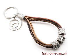 Schlüsselanhänger Leder in serh schönen brauntönen Personalized Items, Silver Jewellery, The Last Song, Stainless Steel, Clock, Wristlets
