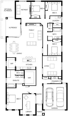 £: remove move retreat to living and turn powder into storeroom/ dogs bed Modern House Floor Plans, Home Design Floor Plans, Bungalow House Plans, Luxury House Plans, New House Plans, Dream Home Design, Dream House Plans, House Design, Building Plans